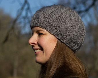 Grey Winter Beret for Women