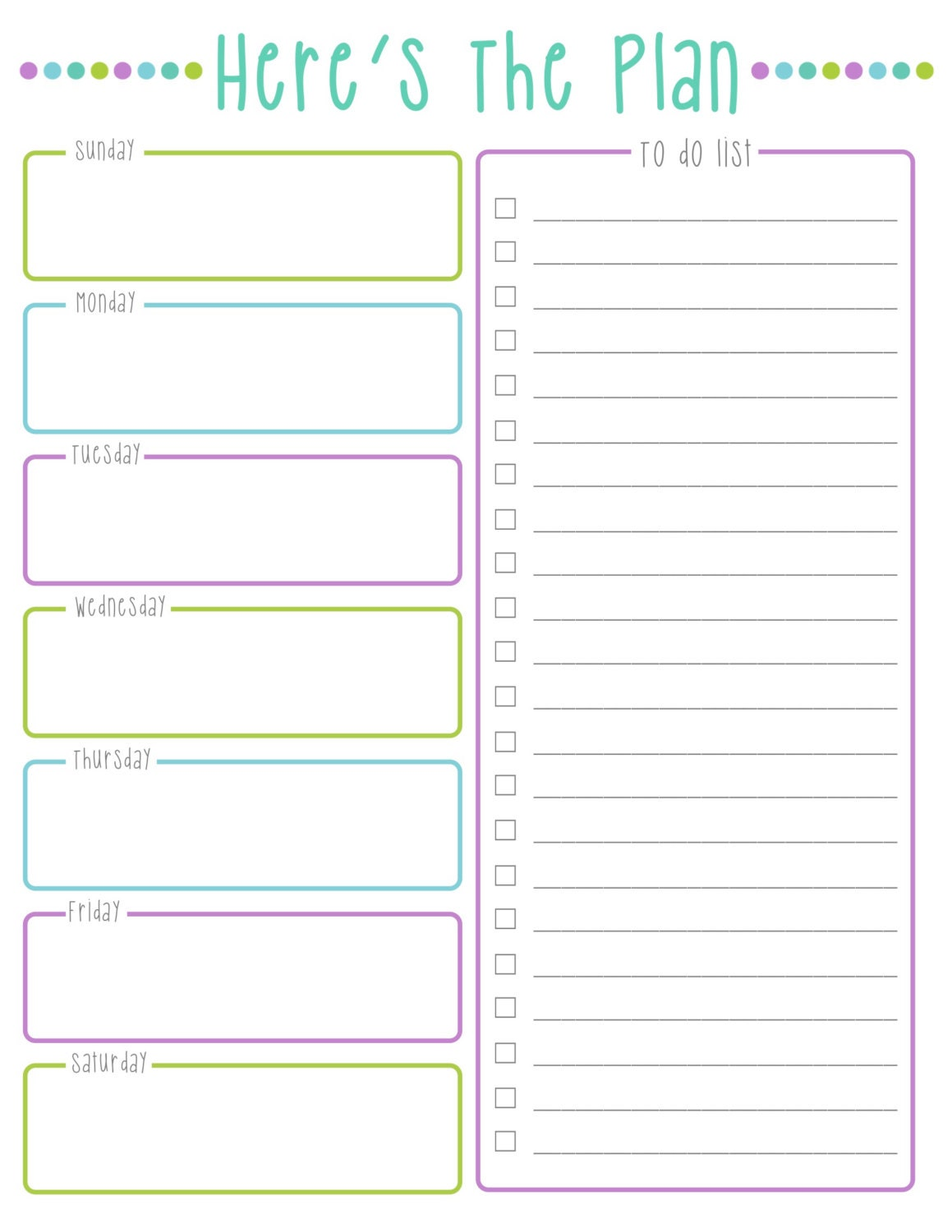 cool to do list template - here 39 s the plan weekly to do list cool colors