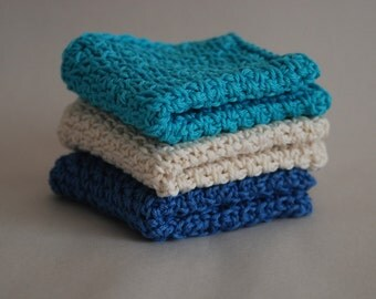 Blue and White Cotton Washcloths / Crochet Washcloth