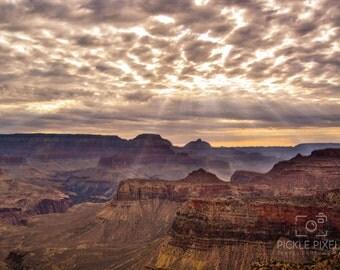 Grand Canyon Photo, Arizona, National Park, Sun Rays, Orange, Red, Travel Photography, Fine Art Photography, Art Prints, Wall Art, Decor