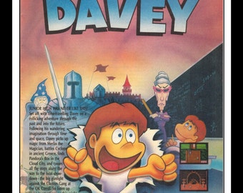 "Vintage Print Ad 1990's :  Nintendo NES Day Dreamin' Davey Wall Art Decor 6.5"" x 10"""