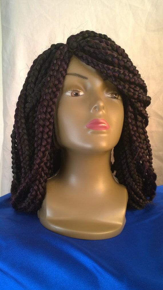 Box Braided Wig Medium Braids Lace Front By Crownofbeautyhair