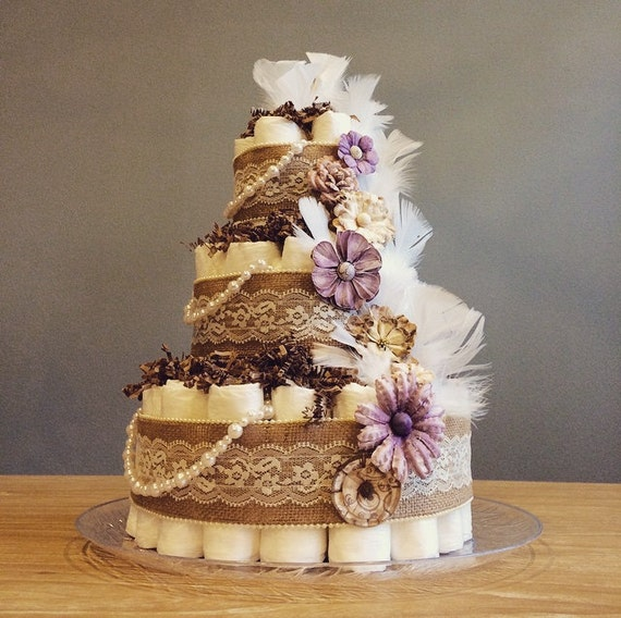 Items Similar To Rustic Shabby Chic Diaper Cake With Pearl