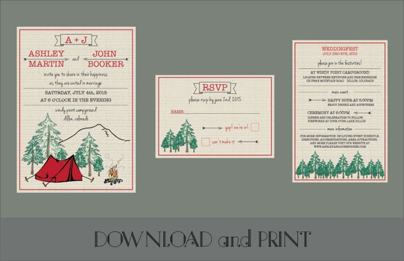 Camping Wedding Invitations: Printable Camping Themed Wedding Invitation RSVP Card And