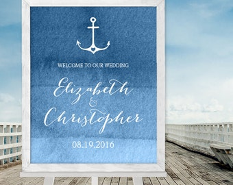 Nautical Wedding Welcome Sign / Nautical Ombre Sapphire Blue Watercolor / Nautical Welcome Sign ▷ Printable File {or} Printed & Shipped