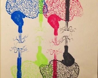 A3 Abstract Colourful Brains Screenprint.