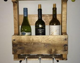 grande palette porte bouteilles mur rustique d cor par mirarematter. Black Bedroom Furniture Sets. Home Design Ideas
