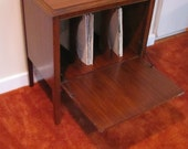 Vintage Record Strorage Cabinet LP Stand Fold Down Door