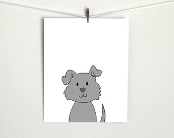 Dog Art Nursery Animal Print Gray
