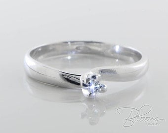 Simple Diamond Ring 18K White Gold Ring Very Delicate Ring Engagement Ring Delicate Diamond Ring Diamond Engagement Ring BloomDiamonds