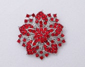 Red Rhinestone Brooch Bridal Brooch Red Wedding Brooch Red Brooch