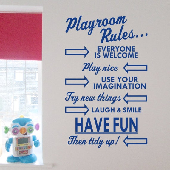 playroom rules wall art sticker by createworks h591k