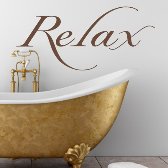 Relax bathroom bedroom wall art sticker by createworks for Wall art stickers for bathrooms
