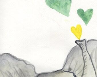Elephant decor, Nursery wall art, watercolor elephant, nursery art, baby elephant, wall art, nursery art set, hearts, gender neutral