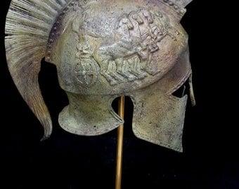 Bronze Helmet With Chariot Carvings Solid Great Helmet