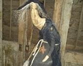 Primitive Spooky Witch Cloth doll Grungy Halloween Skull HAFAIR FAAPFALL