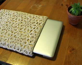 Unique Handmade Crocheted and Sewn Motif Patterned MacBook Pro Sleeve for Appearance and Protection