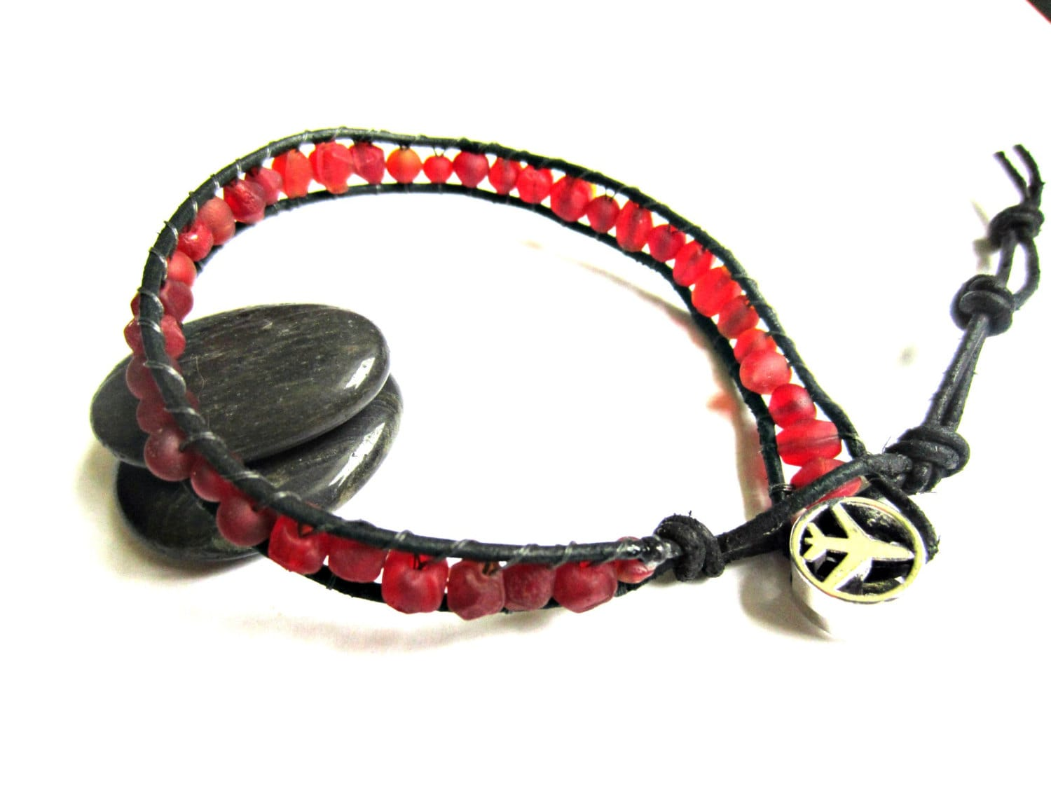 aviation jewelry airplane bracelet red beaded braclet black