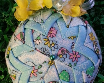 Easter Egg and Flowers Handmade Quilted Ornament