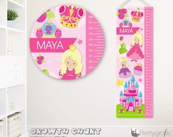 SALE Princess Growth Chart, personalized Growth Chart,Kids Room decor, custom wall hanging, custom Growth Chart for children - GC113