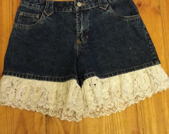 Upcycled Boho Style Redesigned Pre-Loved Denim Shorts