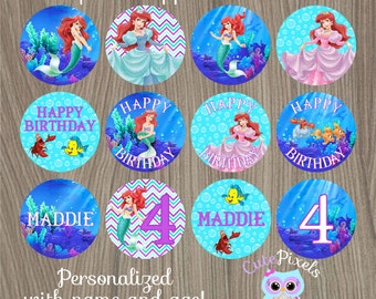 Little Mermaid Cupcake Toppers, Ariel Cupcake Toppers, Disney Little Mermaid, Little Mermaid Birthday, Mermaid Party Circles