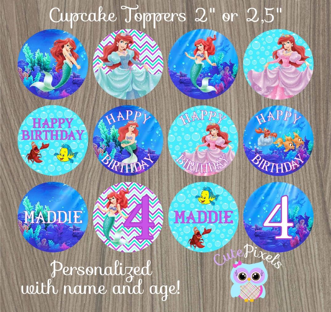 Little Mermaid Cupcake Toppers Ariel Cupcake Toppers Disney