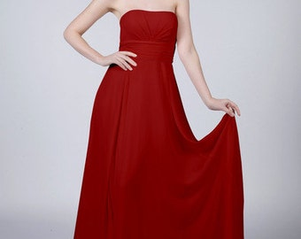 Ruby Red Strapless Bridesmaid Dress by Matchimony