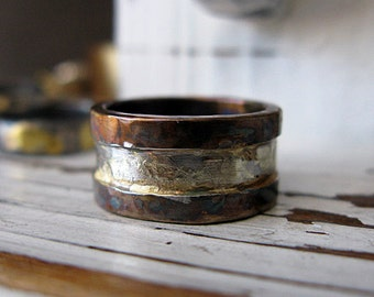 Rustic Mens Wedding Band Handmade Mens Wedding Ring Oxidized Silver Mens Ring Artisan Organic Gold and Silver Commitment Ring