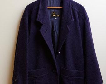 1980s Lakeland Navy Blue Wool Coat • 8