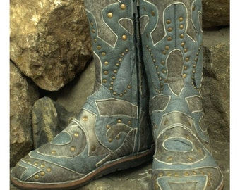 Space Light Blue Leather Boots - Flower of Life by Pleiadian