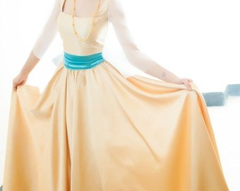 Anastasia Princess Cosplay Yellow Gold Dress Russia Halloween costume for  Adult
