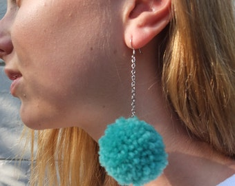 Teal Green Pom Pom Earrings with SILVER CHAIN - Medium