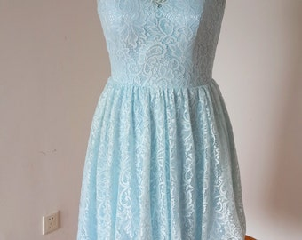2015 V-back Light Sky Blue Lace Short Bridesmaid Dress