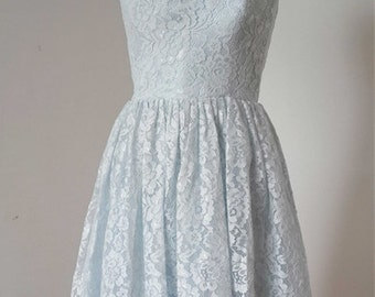 2015 A-line Pale Blue Lace Short Bridesmaid Dress with Back Buttons