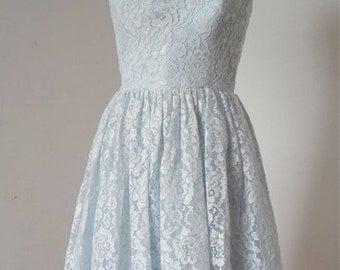 2015 A-line Pale Blue Lace Short Bridesmaid Dress with Back Buttons