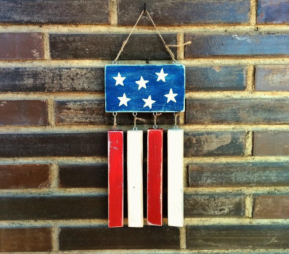 Rustic American Flag Wall Art Flag Rustic By LunarticsHandmade