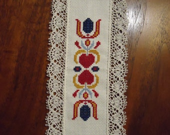 Folksy Hearts and Flowers Cross-Stitched Bookmark