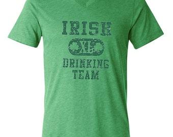 St Patrick's Day Men's Shirt Irish Drinking Team Tri Blend V-neck Tee T-Shirt A8727D-C3415