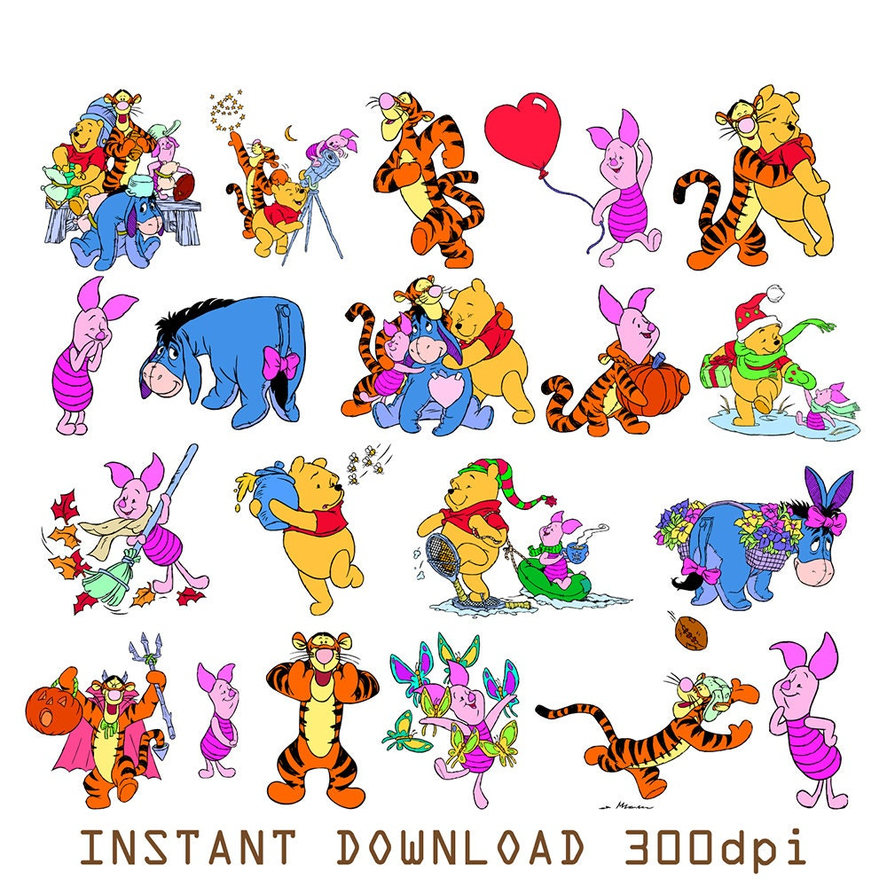 Classic Pooh Piglet and Eeyore Clip Art – Clipart Download