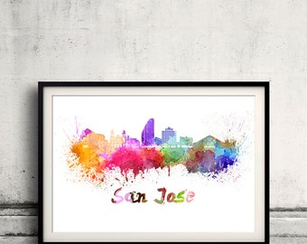 San Jose skyline in watercolor over white background with name of city 8x10 in. to 12x16 in. Poster Wall art Illustration Print  - SKU 0216