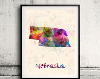Nebraska US State in watercolor background 8x10 in. to 12x16 in. Poster Digital Wall art Illustration Print Art Decorative  - SKU 0414