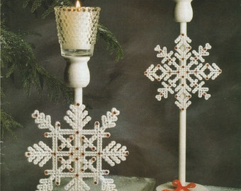 Jeweled Snowflakes in Plastic Canvas
