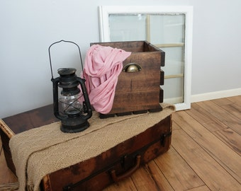 Rustic Wood Crate with Metal Handles - Medium 11x14x10.75