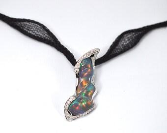 Opal pendant, Diamond pendant, Opal and diamond pendant, 9ct white pendant, white gold opal pendant