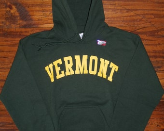 Vermont Hooded Sweatshirt on Forest Green Hoodie with Gold Arch - UVM University of Vermont  Burlington Hoodie - Vermont Sweatshirt