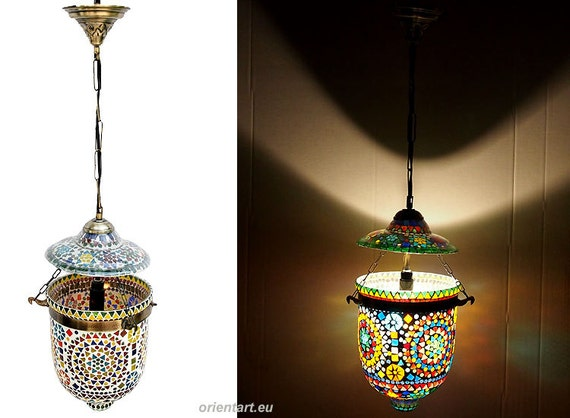orient kolonial bell jar glas decken h ngelampe lampe mosaik. Black Bedroom Furniture Sets. Home Design Ideas
