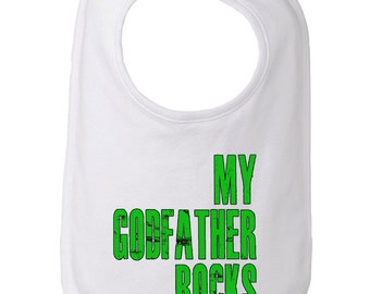 My Godfather Rocks Cute Baby and Toddler Bib, Godson Gift, Goddaughter Gift, Christening Gift, Baptism Gift, Funny Baby Bib, Godparent Baby