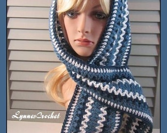 Hand Crocheted Navy, Blue and White Striped Scarf . .