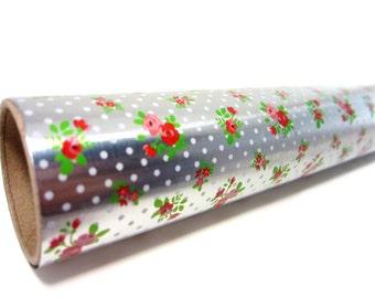 Floral Polka Dot Tin Foil / Miniature Kawaii Floral Decorative Aluminum Foil Paper / Tiny Roll Food Baking Cooking Wrap Decor / Small Foil